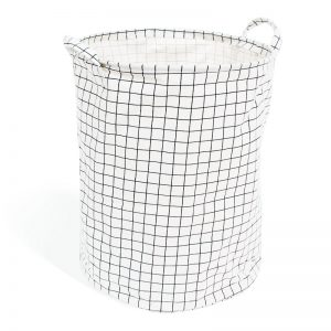 Izekiel White Checked Laundry Basket