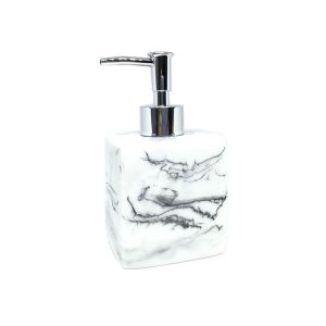 Jena White Marbled Ceramic Soap Dispenser