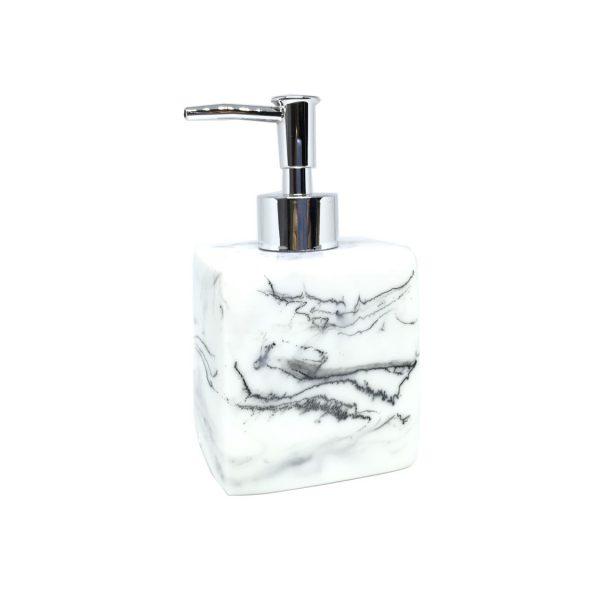 Jena White Marbled Ceramic Soap Dispenser