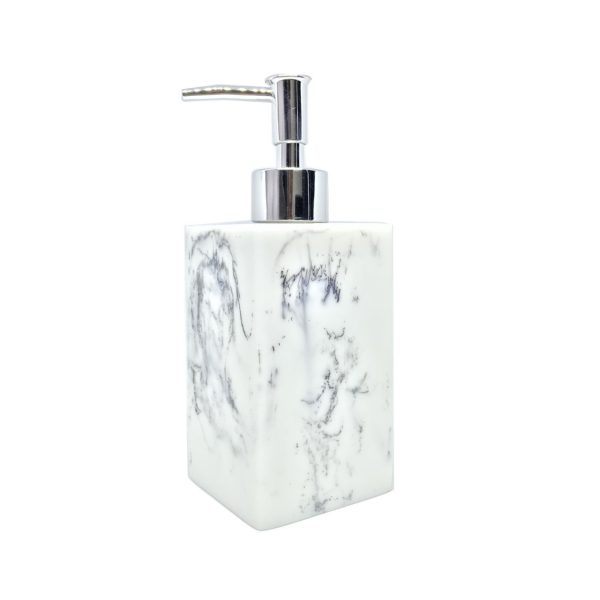 Pearly White Marbled Ceramic Soap Dispenser