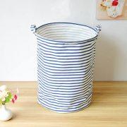 Lewis Blue Striped Laundry Basket