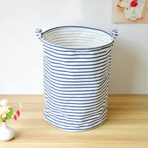 Lewis Blue Striped Laundry Basket