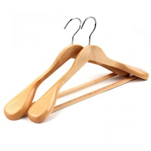 Ses Varnished Premium Contoured Wood Coat Hanger